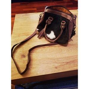 Genuine ALPACA + leather shoulder bag